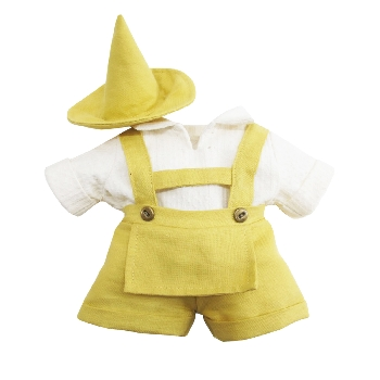 Shirt with Mustard Overalls + Hat